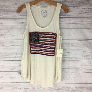 Lucky Brand USA embroidered studded flag tank top